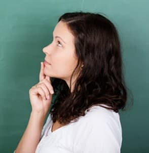 woman thinking / rubbing the points