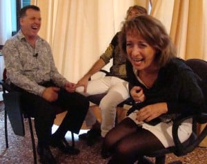 Laughing female client in PET Demo session in Venice Italy Workshop