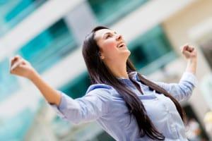 businesswoman triumph